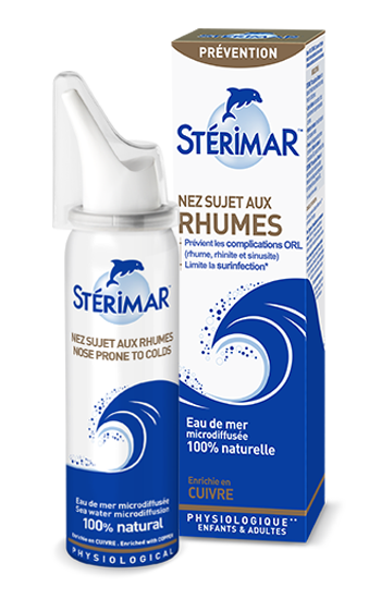 spray nasal nez sujet aux rhumes et packaging - stérimar